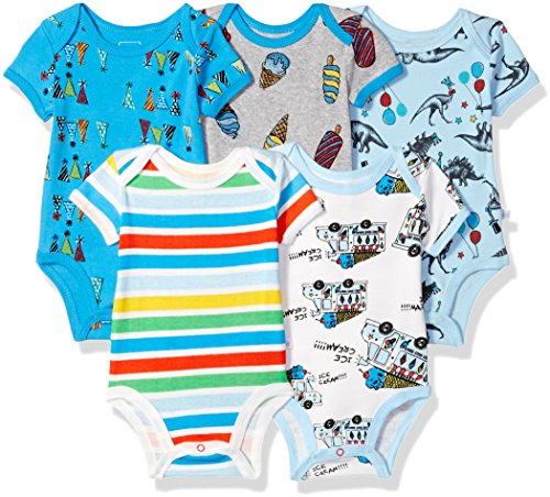 Baby Unisex Layette (Rosie Pope Infant Baby 5 Pack Bodysuits, Party Animal, 6-9 Months)