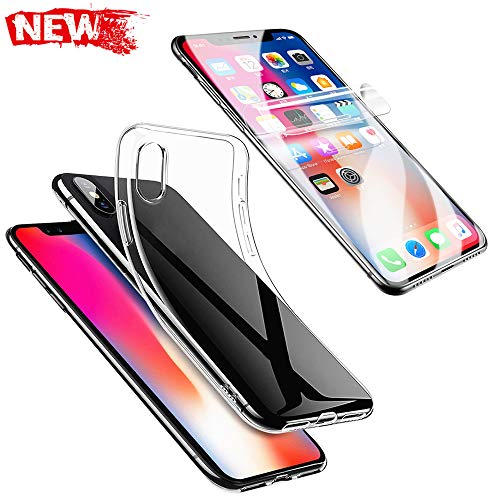 for iPhone XS Max,Clear Slim TPU Case Cover + Screen Protector