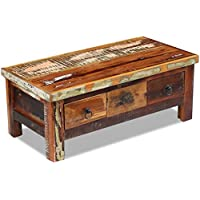 Festnight Reclaimed Wood Coffee Table with 2 Drawers Home Furniture Antique-Style , 35.4x 17.7x 13.8