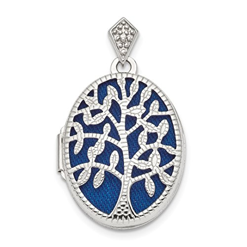 ICE CARATS 925 Sterling Silver Plate Textured Diamond Tree Photo Pendant Charm Locket Chain Necklace That Holds Pictures Oval Outdoor Nature Fine Jewelry Gift Set For Women (Textured Oval Pendant)