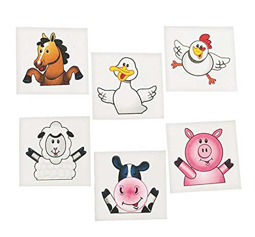 72 FARM ANIMAL/BARNYARD TATTOOS/Cow/DUCK/PIG/SHEEP/HORSE/CHICK/Birthday PARTY FAVORS/6 DOZEN (Barn Animals Party Favors)