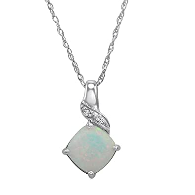 fc27280e234 Amazon.com  Sterling Silver Created Opal and Diamond Pendant-Necklace on an  18 inch Chain  Jewelry