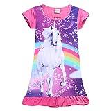 YIJODM Comfy Girls Unicorn Printed Rainbow Princess Casual Dress Nightgown Nightie For Toddler