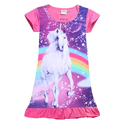 YIJODM Comfy Girls Unicorn Printed Rainbow Princess Casual Dress Nightgown Nightie for ()