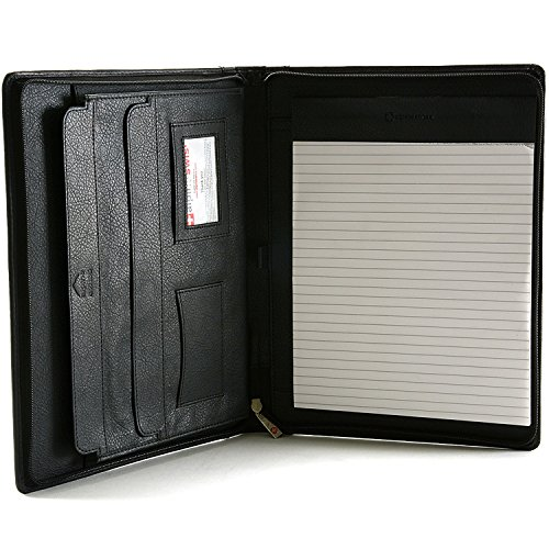 Alpine Swiss Leather Portfolio, Writing Pad, Presentation Folder Business Case Comes in a Gift Bag. Note Pad can be inserted / adjusted both for a Right or Left Handed writer - Folder Flap perfect to
