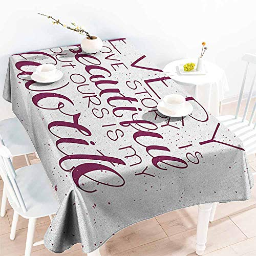 familytaste Romantic,Rectangle Table Cover Cloth Romance Quote Our Story is My Favorite Love and Adoration Theme Calligraphic 70