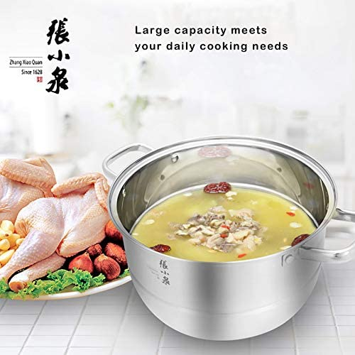 51mNmNuEQrL. AC Zhang Xiao Quan Food Steamer Stainless Steel 3 Tier Steamer Pot with Handles on Both Sides, Boiler Pot with Tempered Glass Lid, Work with Gas, Electric, Grill Stove Top,28CM    Product Description