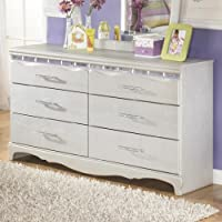 Ashley Furniture Signature Design - Zarollina Dresser - 6 Drawers - Kids Room - Faux Crystal Accents - Silver