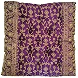 Indian Embroidered Eggplant Purple Seat Cushion, made from a Sari & Filled with Natural Cotton and Hand tufted to hold the filling securely in place. Handmade in Rajasthan and Imported by Worldcraft.