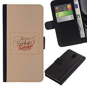 UPPERHAND Imagen de Estilo Cuero billetera Ranura Tarjeta Funda Cover Case Voltear TPU Carcasas Protectora Para Samsung Galaxy Note 3 III N9000 N9002 N9005 - edición de fotos melocotón texto divertido rojo