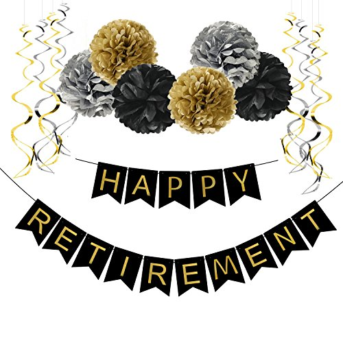Famoby Happy Retirement Banner with Pom Poms Streamers Set for Party -