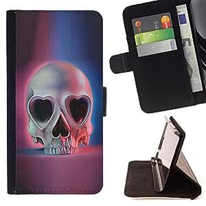 - Heart Pink Blue Skull Skeleton Death - - Prima caja de la PU billetera de cuero con ranuras para tarjetas, efectivo desmontable correa para l Funny HouseFOR Samsung Galaxy A3