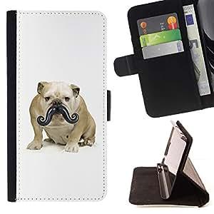 Momo Phone Case / Flip Funda de Cuero Case Cover - Bigote dogo Peque?o perro divertido; - Samsung Galaxy E5 E500