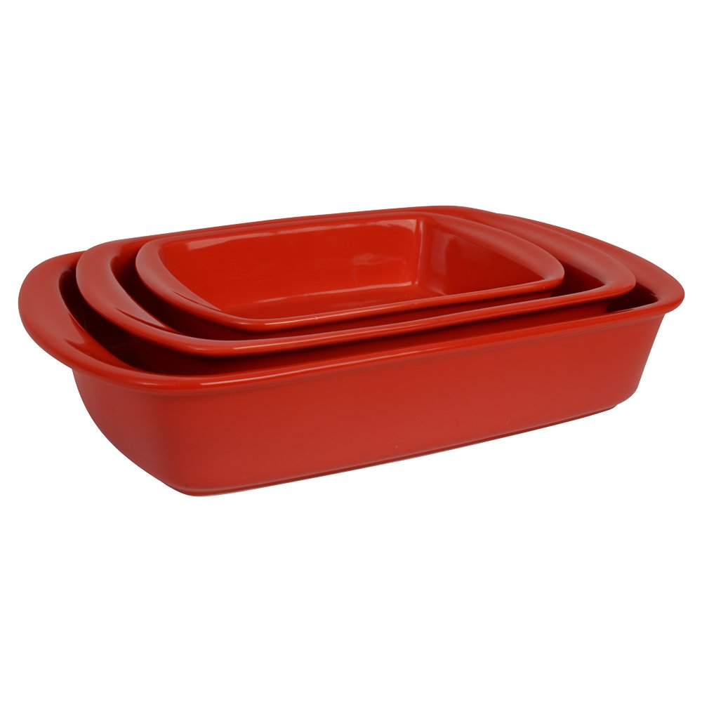 ProCook Stoneware Oven to Table Dish Set 3 Piece Red