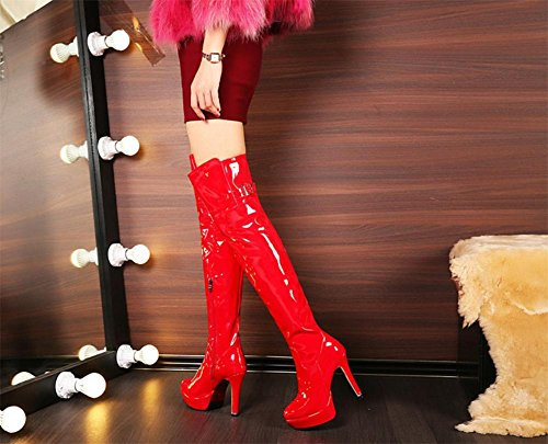 NVXIE ginocchio gli Nero Nuova alti del inverno Chiusura EUR lungo RED di coscia Donna moda Sopra brevetto 42 8 5 Tacchi Pelle Nightclub Autunno UK del laterale Party rosso EUR36UK354 Boot stivali wEHw0rq