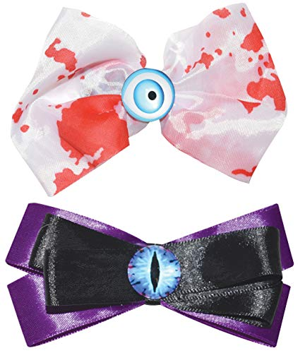 Assorted Halloween Bows Hair Accessories with Eyeballs, Set of -