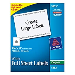 Avery Full-Sheet Labels for Copiers, 8-1/2\
