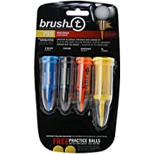 Brush-T Multi-Pack of 4 Golf Tees (Wood, Driver, Oversized, XLT) - Low Friction, More Distance, Consistent Height