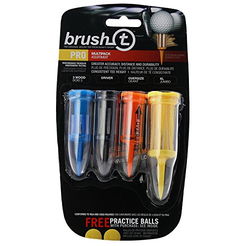 Brush-T Multi-Pack of 4 Golf Tees (Wood, Driver, Oversized, XLT) - Low Friction, More Distance, Consistent Height Brush Tee Golf Tee