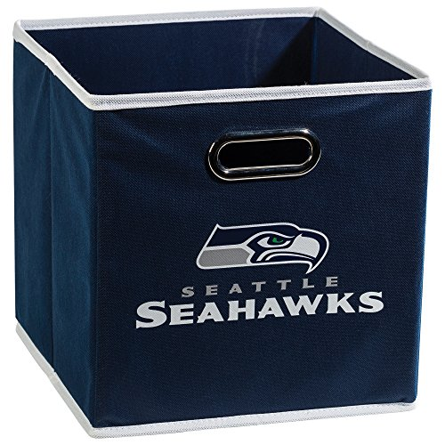 Franklin Sports Seattle Seahawks Collapsible Storage Bin - NFL Folding Cube Storage Container - Fits Bin Organizers - Fabric NFL Team Storage Cubes