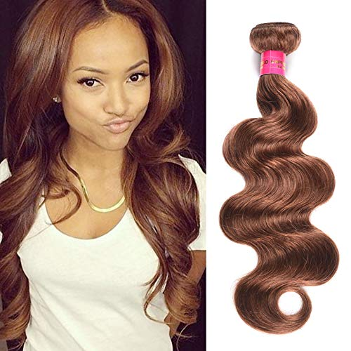 (Fashion Lady Hair 1 Bundles Body Wave 8A Grade Peruvian Virgin Remy Hair #30 100gram/Piece Hair Extensions Weaves(Dark Auburn #30,22Inch))