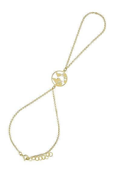Córdoba Jewels | Pulsera de Dedo en Plata de Ley 925 bañada en Oro con diseño Mapamundi Infinity Oro: Amazon.es: Joyería