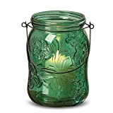 Whole House Worlds The Farmer's Market Fancy Mason Jar Candle Holders, Butterflies and Flowers, Set of 6, Vintage Rustic Style Hurricane Lanterns, Glass, Deep Lush Green, 6 Inches Tall, By WHW