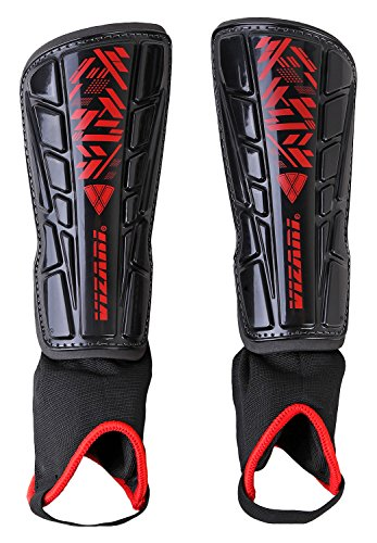 Vizari Malaga Soccer Shin Guards | Soccer Gear | Lightweight Protective Gear | Easily Adjustable Straps | Black/Red XS