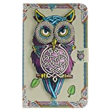 Galaxy Tab 3 Lite 7.0-inch case, ANGELLA-M Cartoon Owl Style Folio Wallet Case, Card Slots, Solid Stand, Premium PU Leather Case Slim-fit for Samsung Galaxy Tab 3 Lite SM-T110 T111