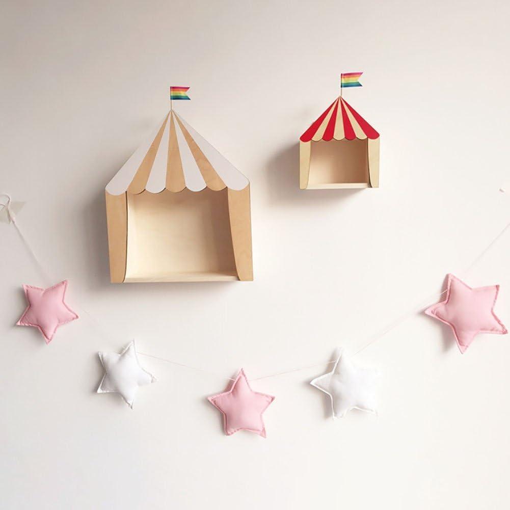Forart Assorted Childrens Tent Stars Decorative Handmade Felt Pompoms Polka Dot Garland for Baby Shower Grand Opening Party Festivals Room Decorations