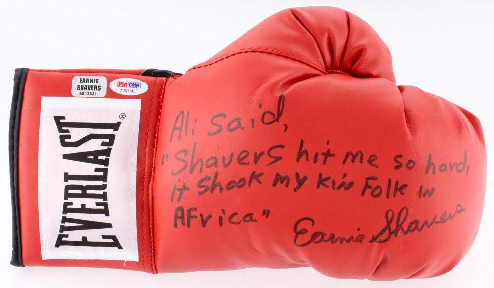 Earnie Shavers Autographed Boxing Glove (ali Inscription) W/Proof + ! PSA/DNA Certified Autographed Boxing Gloves