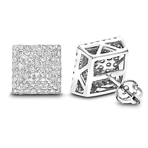 Luxurman Ladies 14K Pave Set Natural 1.3 Ctw Diamond Stud Earrings (White Gold)