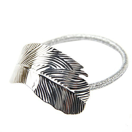 CHUANGLI Leaf Hair Rope Hair Ornaments Women Headwear Elastics Ponytail Hairband Head Silver