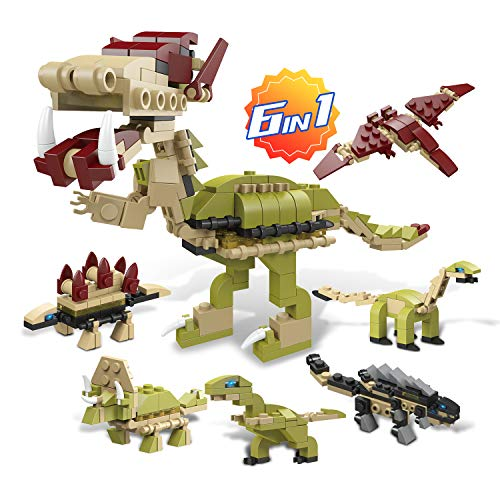 6-in-1 Educational Dinosaur Building Block Toys Creative Construction Set for Boys & Girls Age 6-7-8-9-10-11-12-Year-Old Kids to Assemble Party Favor Stem Model Kit, Best Baby Gifts Children Presents