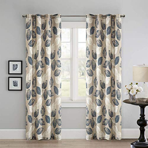LoyoLady Private Custom Khaki Leaves Pattern Thermal Insulated Grommet Top Curtains, Single Panel Sales