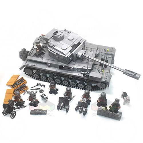 - Gimore WW2 German Blitzkrieg Motorized infantry IV F2 PANZERKAMPFWAGEN Tank Brigade Heavy Artillery Army Military Building Blocks 1250+pcs 8dolls Toys For Children