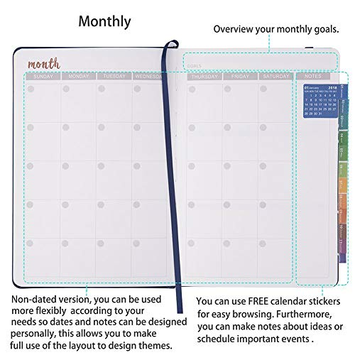 Mnps Calendar 2020.Undated Planner With 2019 2020 Planner Stickers Weekly Monthly And Yearly Planner Diary 4weeks 1 Notes Page Per Month To Improve Productivity