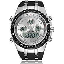 Mens Analog Digital Backlight Sports Watch, Large Face and Waterproof Multifunctional Wrist Watches with Black Band