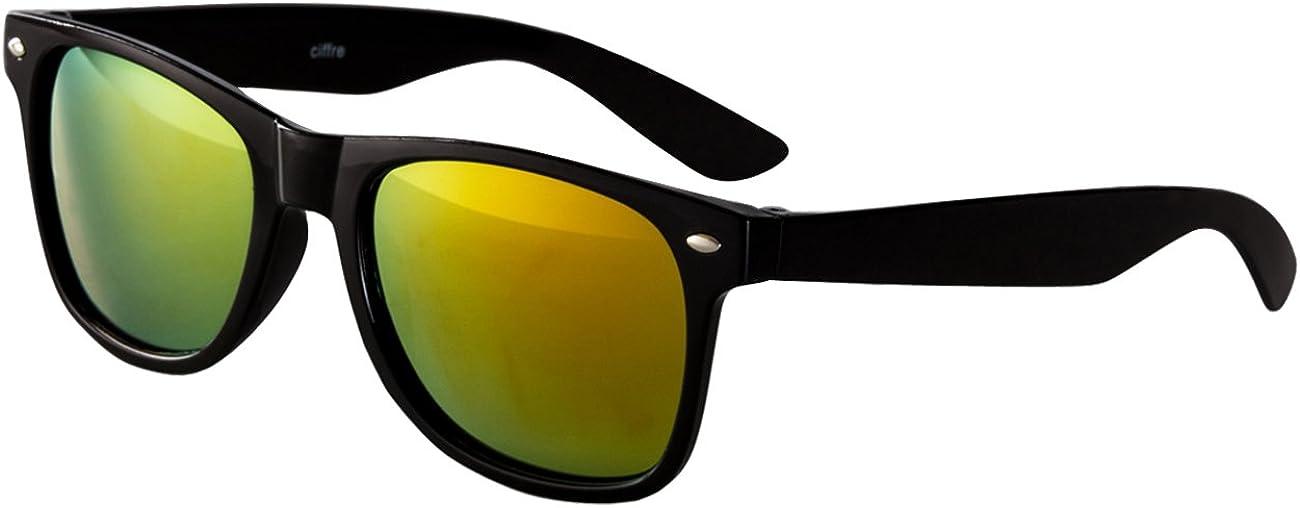 Ciffre Sonnenbrille Nerdbrille Nerd Retro Look Brille Pilotenbrille Vintage Look - ca. 80 verschiedene Modelle Schwarz Feuer Verspiegelt: Amazon.de: Bekleidung - Sonnenbrille billig