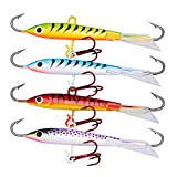 ice fishing spoons - Goture Jigging Fishing Lure 4pcs 2.36in 0.36oz With Treble Hook For Winter Fishing Lures (3.26in 0.63oz 4pcs)