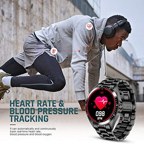 Smart Watch for Men Stylish, Fitness Trackers Waterproof with Heart Rate for Android iPhone, Sports Watch Bluetooth Call Answer Pedometer Stainless Steel 5