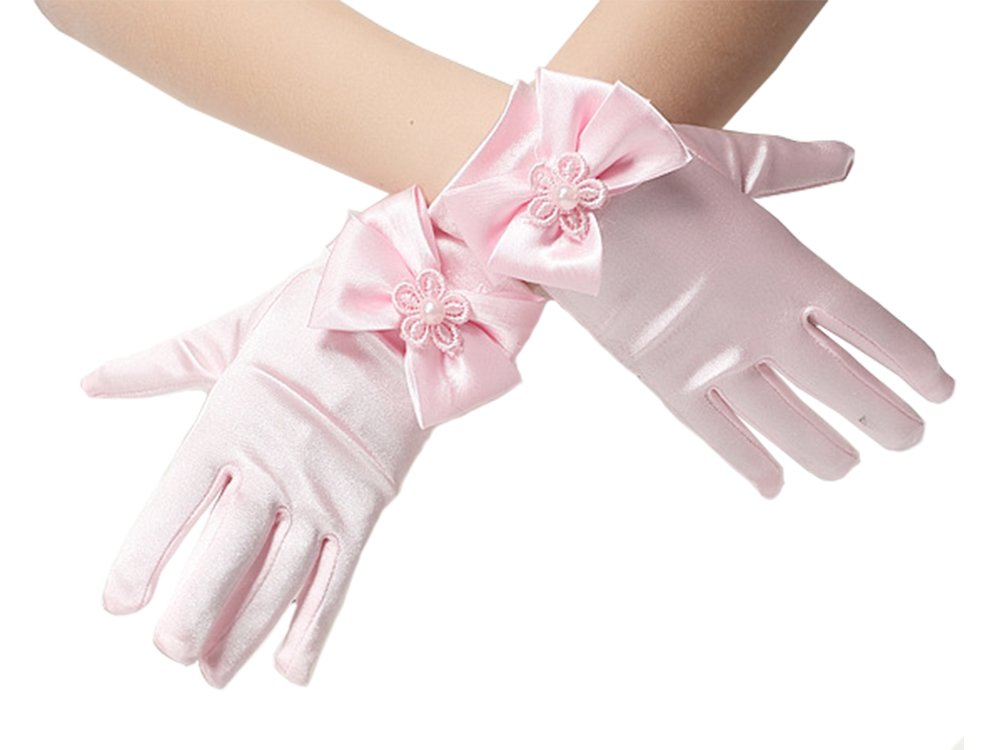 Elesa Miracle Girl Bow Pink Satin Formal Gloves, Child Size Wrist Length Gloves, for Age 4-7 Years ( Wrist Bow Pink)