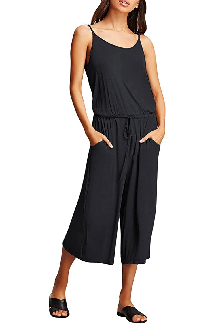 c20ad76c38b6 Amazon.com  Fixmatti Women Loose Fit Halter Backless Waisted Capri Wide Leg  Romper Jumpsuit  Clothing