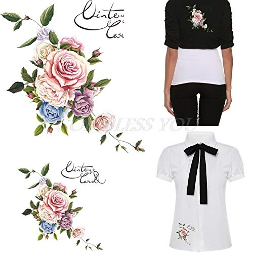 Iron Sticker Transfer - Clothes Heat Transfer Stickers Iron On Appliques Flower Patches Diy Printing - Tshirts Printers Clothes Books Cotton Spreader Cross Flower Dragonfly Brother Paper Patche ()