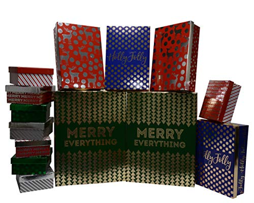 Christmas Nested Gift Boxes Rectangle in Assorted Sizes with Lids, Metallic Designs, and Laminated Glossy Finish for Gift Giving On Xmas, Holiday Decor and Party Favors (Set of 14)