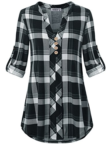 MOQIVGI Shirt for Women Casual,Misses Tunic Blouses Chic Tartan Checker Pattern Roll Sleeve Vneck Buttons Embellished Relaxed Fit Dressy Career Office Work Tops Fall Clothes Black White X-Large