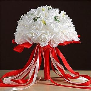 Transer Crystal Roses Bridesmaid Wedding Bouquet Bridal Artificial Silk Flowers 79