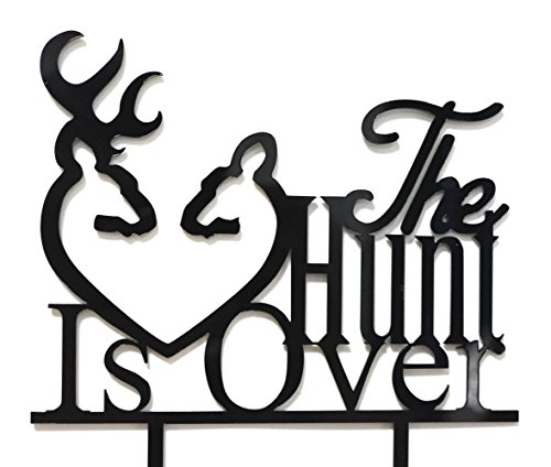 Qttier The Hunt Is Over With Deer Silhouette Cake Topper -Wedding, Engagement Party -