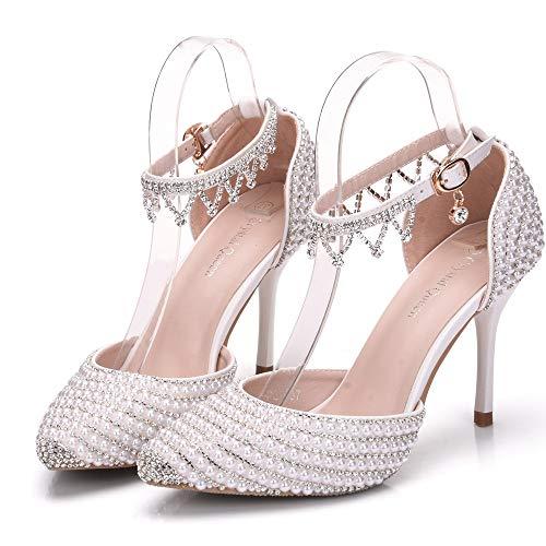 Moojm Donne Strass Sposa Perle Sposa Punta White Scarpe EU37 Da Sandali Scarpe Tacchi Alti Tacchi Alti Da qrdqI