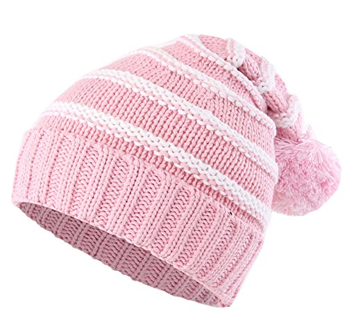 (Connectyle Toddler Girls Boys Kids Stripe Knit Beanie Cap with Pom Fleece Lined Winter Hats Pink S)